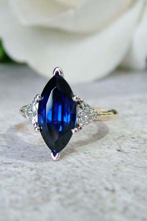 blue sapphire lab grown diamond engagement ring