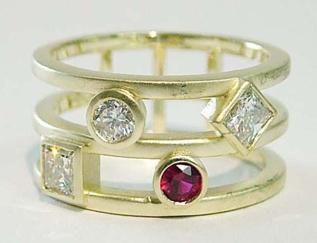 multi diamond and ruby ring