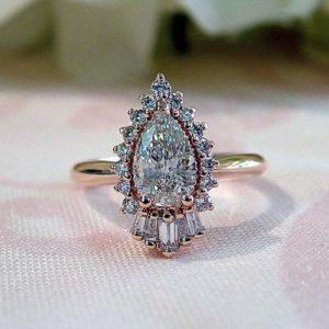 pear shaped lab grown diamond engagement ring