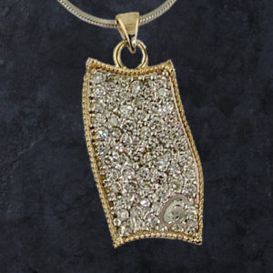 Abstract Diamond Dog Tag Pendant
