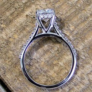 custom minimalist diamond engagement ring with thin band