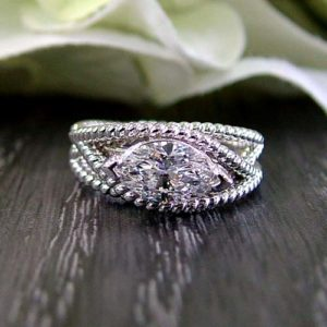 marquise shaped lab grown diamond custom engagement ring Dublin jewlery store
